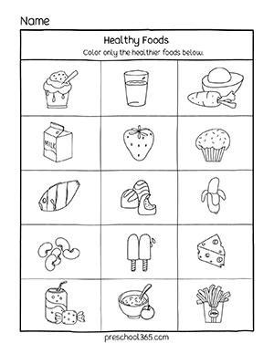 Free Healthy Food And Unhealthy Food Activity Sheet For Preschool Preschool365